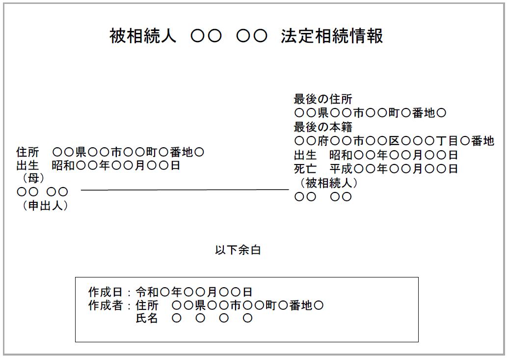法定相続人が母のみの法定相続情報一覧図の見本