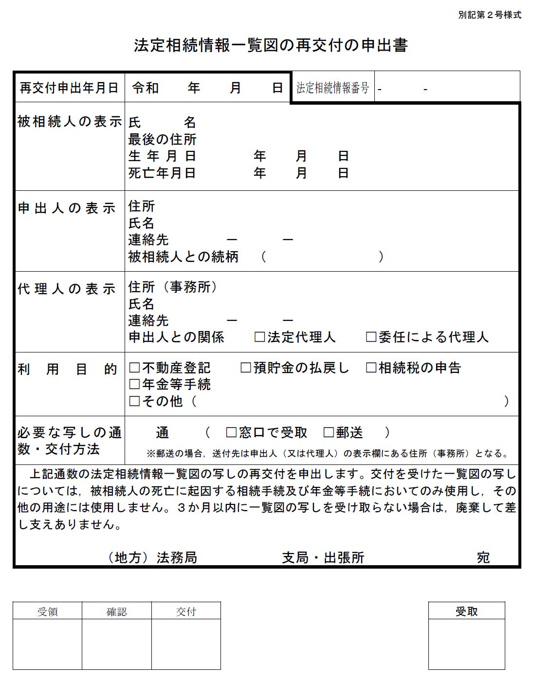 「法定相続情報一覧図の写し」の再交付の申出書の最新様式