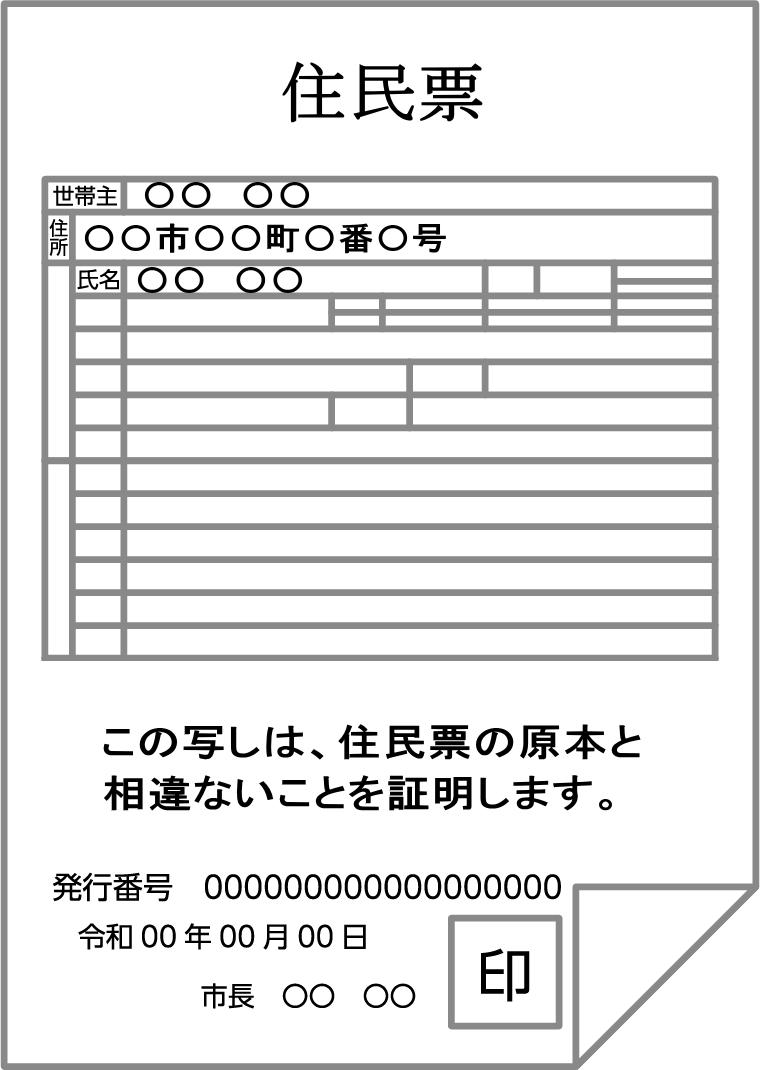 住民票の写しの例